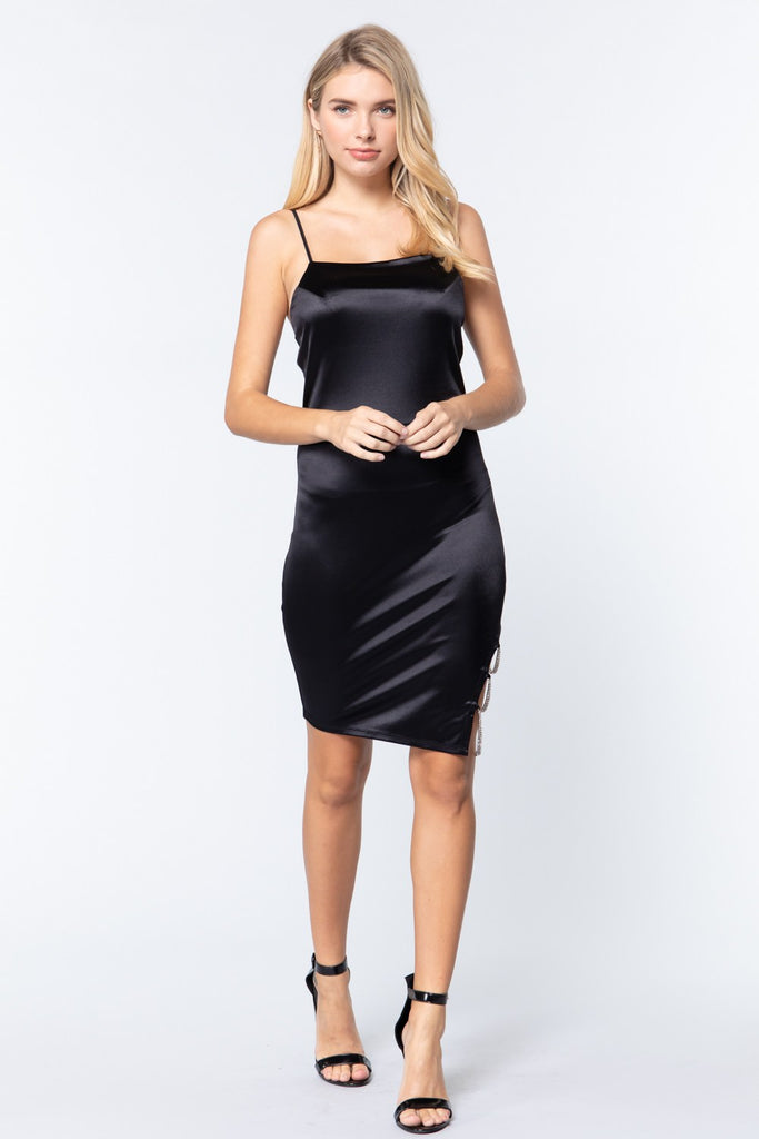 Jewel Strap Satin Cami Mini Dress