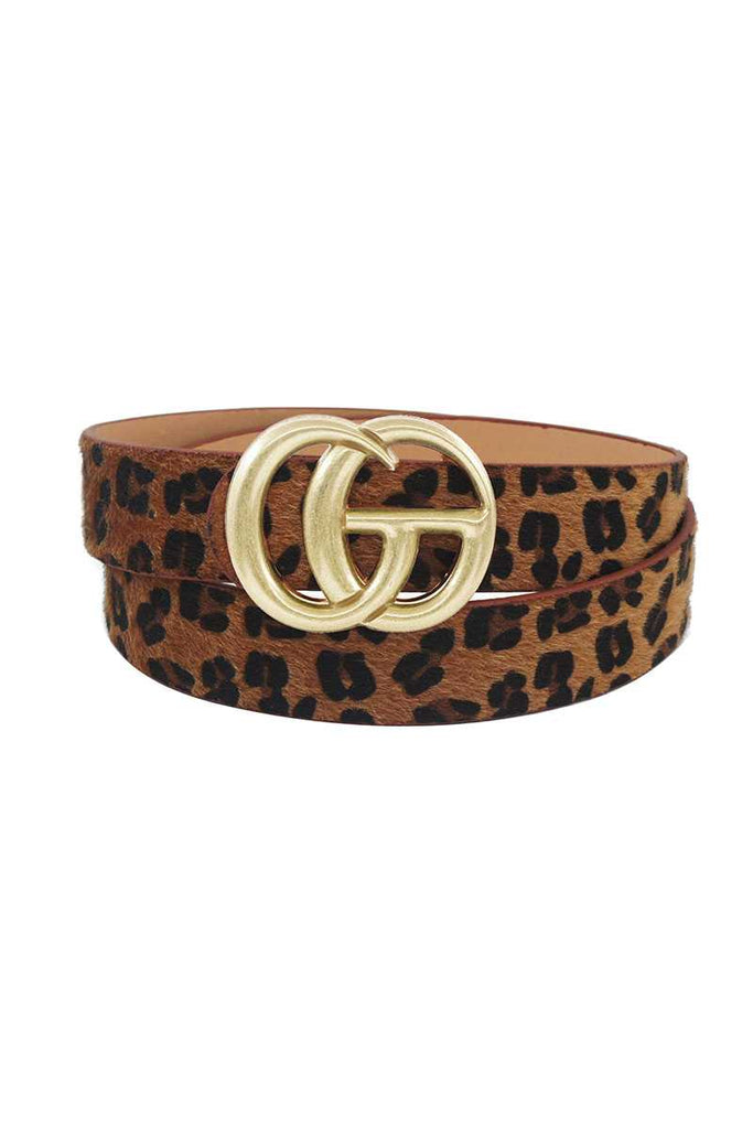Gd Buckle Leopard Hair Belt
