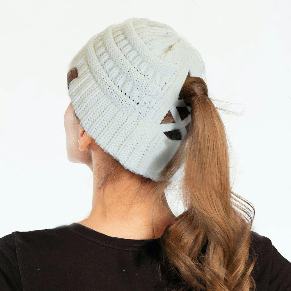 CC CCB Ribbed Knit Beanie Criss Cross Ponytail Detail Multiple Ways