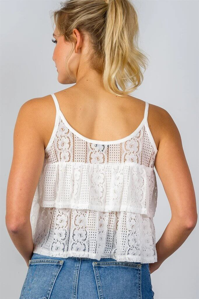TRACY Double Layer Cropped Cami Top From Back