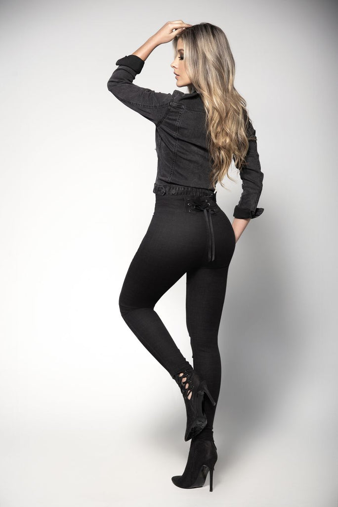 High Waist Butt-Lifting Jeans with Back Bodice Detail