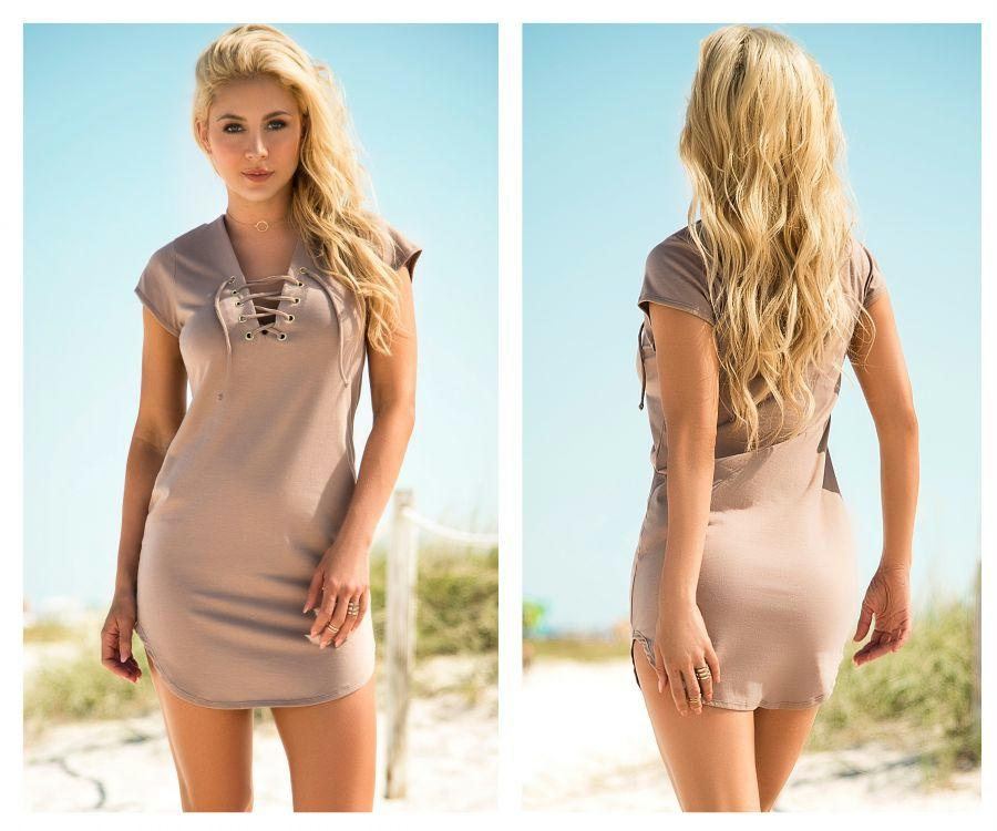 AUDREY Lace Up Dress with Slightly Loose Fit