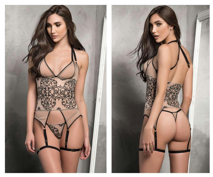 ROSSY Three Piece Garter Lingerie Set