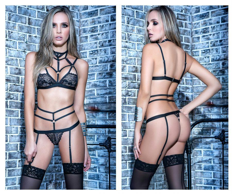 SOPHIE Two Piece Garter Straps Lingerie Set