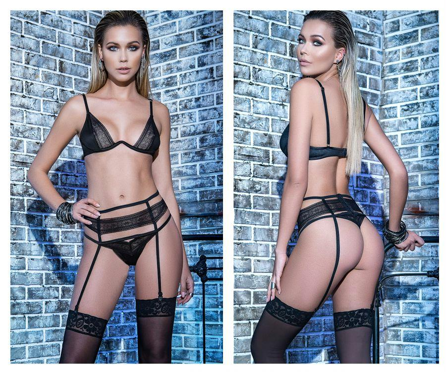 ROBIN Two Piece Garter Straps Lingerie Set