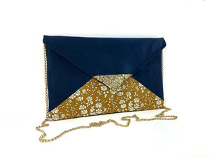 Fil des toiles Pochette Sac pochette bleu marine Liberty of London Capel moutarde et paillettes dorées