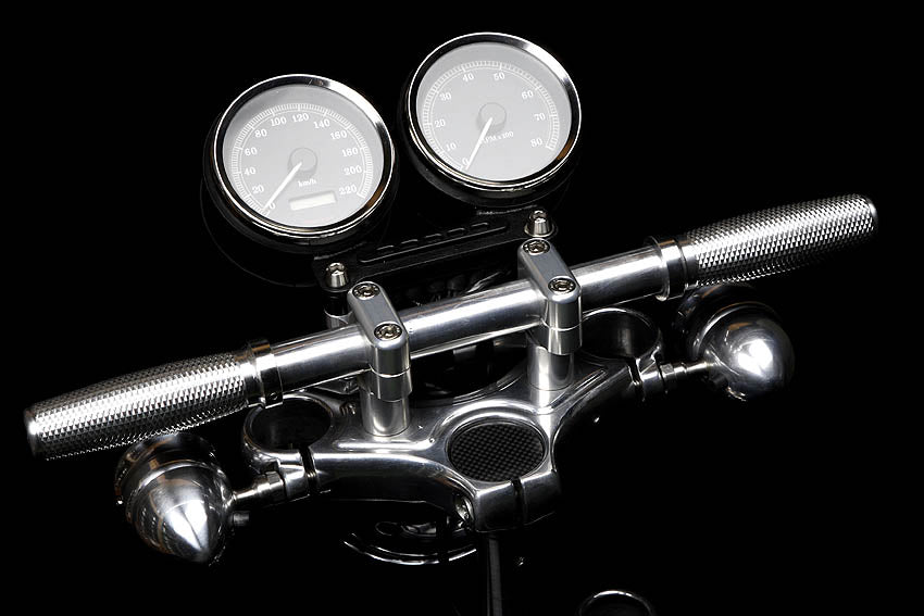 Pazoma Motorcycle CNC Handlebar Risers with Meter Bracket for Harley Sportster models 2004-2019, color Black / Silver - pazoma