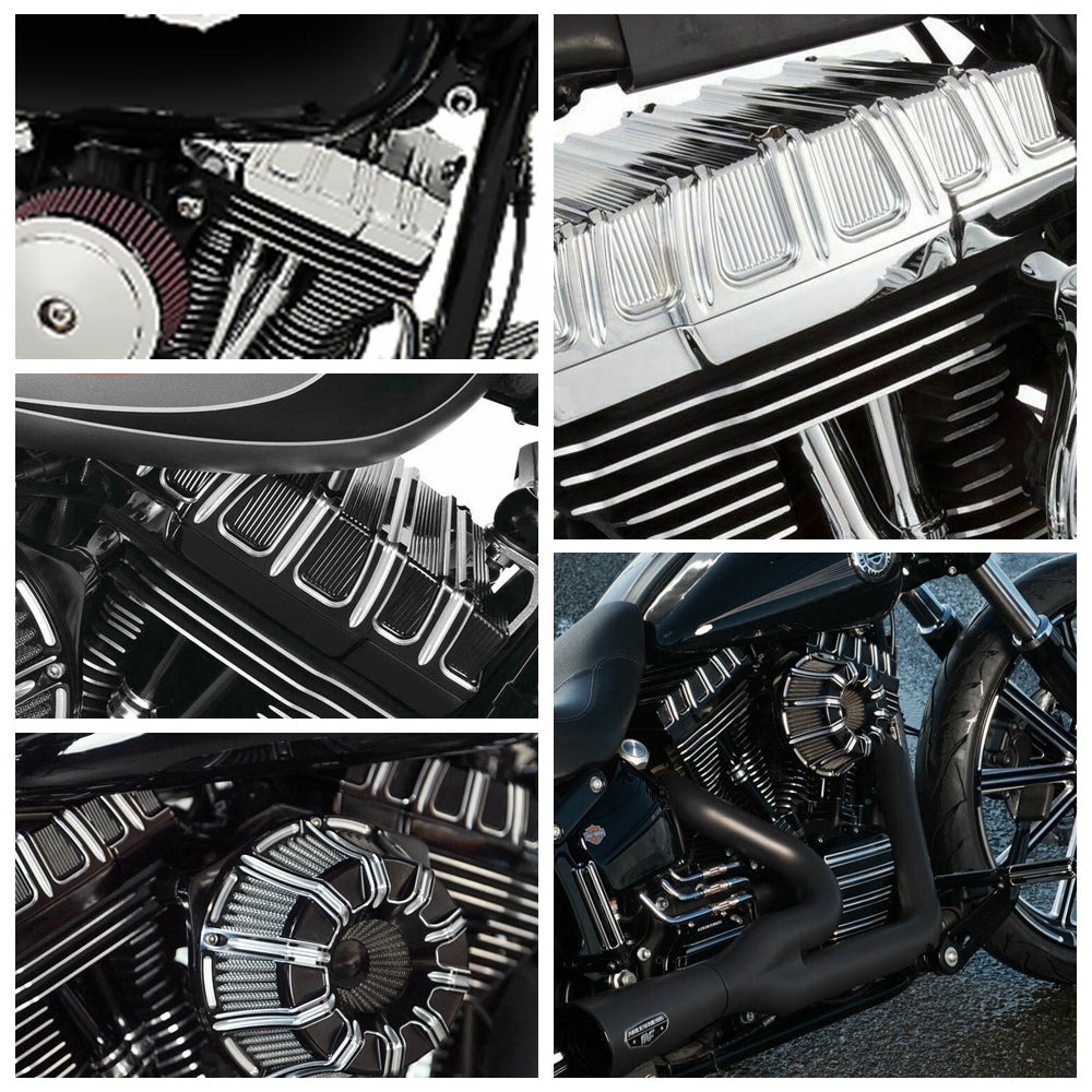 Harley Davidson Twin Cam 1999-2017 Dyna Softail Electra Glide Fat Bob 10-Gauge Rocker Box Top Covers Case Black CNC Aluminum - pazoma