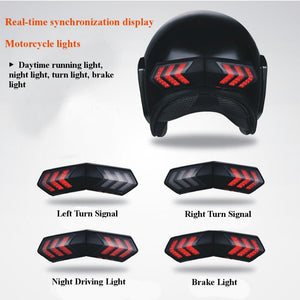 Universal 12V Wireless Motorcycle Smart helmet light LED Lights Safety With Running Lights Brake Lights Turn Signal Indicators Waterproof USB Charging - pazoma