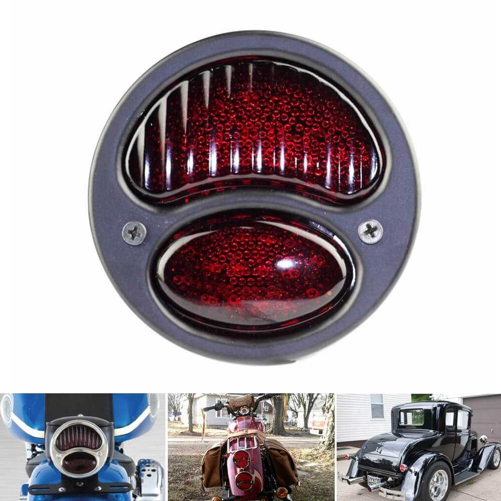 1928-1931 Ford Model A DUOLAMP LED Tail Light Harley Chopper Bobber Vintage Old Cafe Racer Motorcycle HD Brake Stop Light - pazoma
