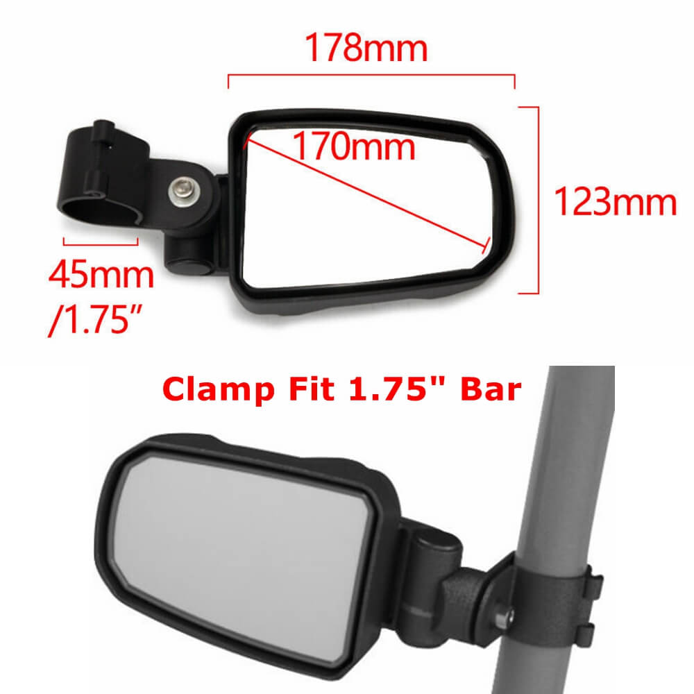1Pair 1.75 inch UTV Offroad Pursuit Side View Mirror for Polaris RZR 1000 XP Ranger Tucker Rocky Arctic Cat Wildcat Trail 700 Aluminum alloy - pazoma