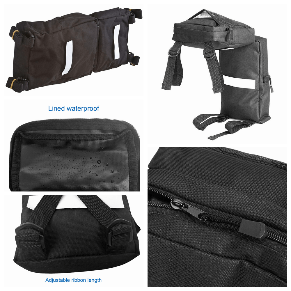 Universal Black ATV UTV Fender Bags Saddle Bag Luggage Storage Pack Zipper Pockets Hunting Bags Beach Fishing Bags Outdoor Sports - pazoma