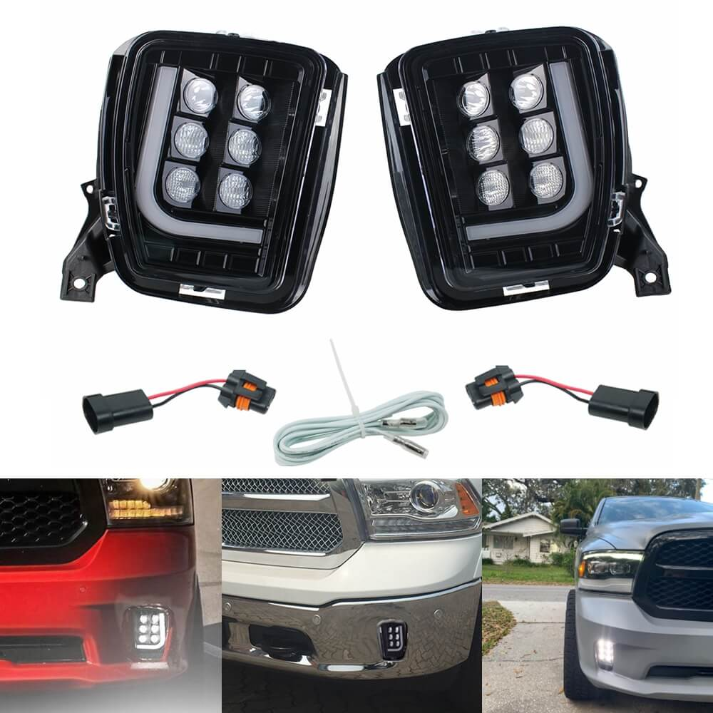 Dodge Ram 1500 13-18 LED Fog Lights with Daytime Running Lights Spot Flood Driving Fog Lamps L-type DRL Replacement 2013 2014 2015 2016 2017 2018 - pazoma