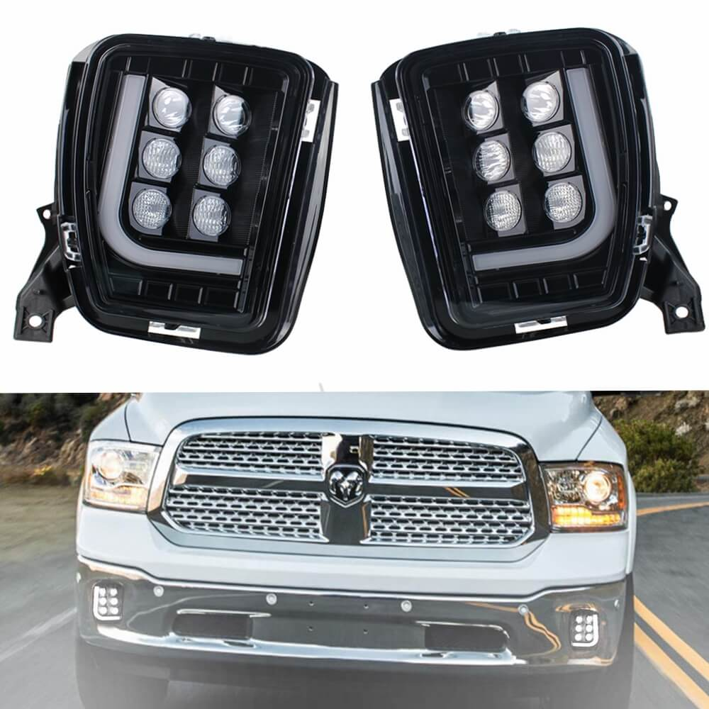 LED Upgrade Fog Light Assemblies for 2013-2018 Dodge Ram 1500 Pair Left and Right Side 2psc with LED Bulbs DRL Daytime Running Lights - pazoma