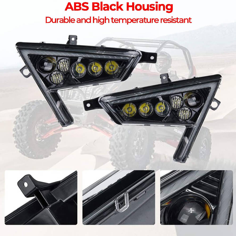 2020-2021 Polaris RZR PRO XP 4 LED Headlights w/Turn Signal Light & Daytime Running Light (DRL) Front Headlamp - pazoma