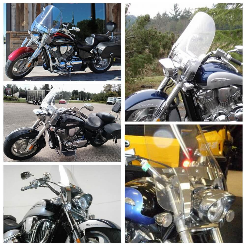 Honda VTX1300 VTX1800 C F N S R T Custom Motorcycle Windshield Windscreen Clear 29 INCH 2002-2009 - pazoma