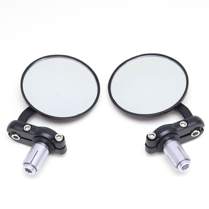 "Motorcycle 2Pcs 3"" Round 7/8"" Handle Bar End Rearview Mirrors side mirror For Honda Suzuki Yamaha Cafe Racer Bobber Universal motorbike - pazoma"