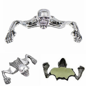 "Small Chrome Headlight Visor Ornament Skull Skeleton Decorative Figure for 4"" 4-1/2"" 5-3/4"" headlamp passing light Harley Suzuki Honda Yamaha - pazoma"