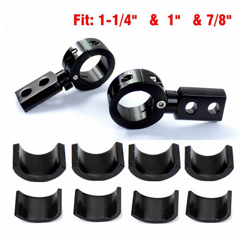 2 Point Universal Motorcycle Fog Light Bracket Spotlight Lamp Mounting Clamp Holder Crash Bar Engine Guard Handlebar Bars Tubes - pazoma
