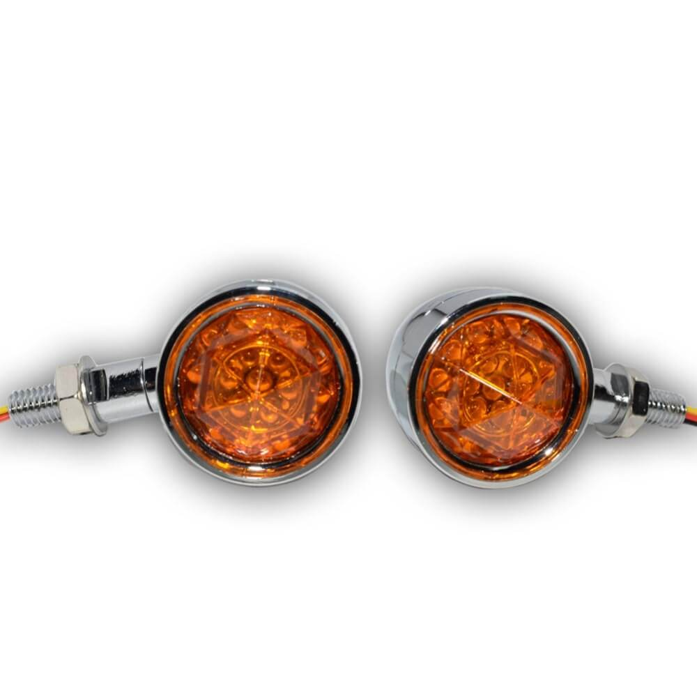 Chrome Motorcycle Turn Signal Bullet Lights Amber Diamond Lens LED Brake Indicator Light Lamp For Harley Bobber Bikes Universal 3 in 1 - pazoma