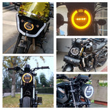 7 inch Universal Motorcycle LED Headlight Head Lamp W/ White Amber Aperture Day Running Light DRL For Chopper Cafe Racer Bobber - pazoma