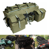 ATV Cargo Bag Rear Rack Gear Bag Made of 600D Waterproof Fabric with Topside Bungee Tie-Down Storage Padded-Bottom Multi-compartment - pazoma