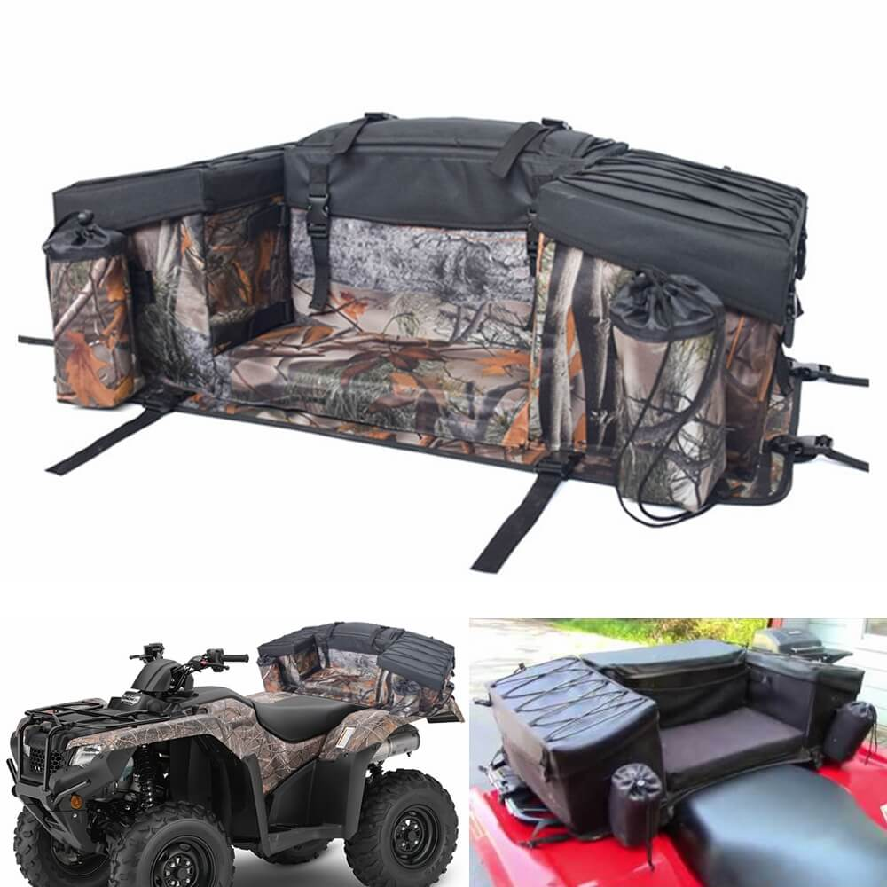 ATV Cargo Bag Rear Rack Gear Bag 600D Waterproof Oxford w/Topside Bungee Tie-Down Storage Padded-Bottom Multi-compartment Rear Seat Bag Camouflage - pazoma