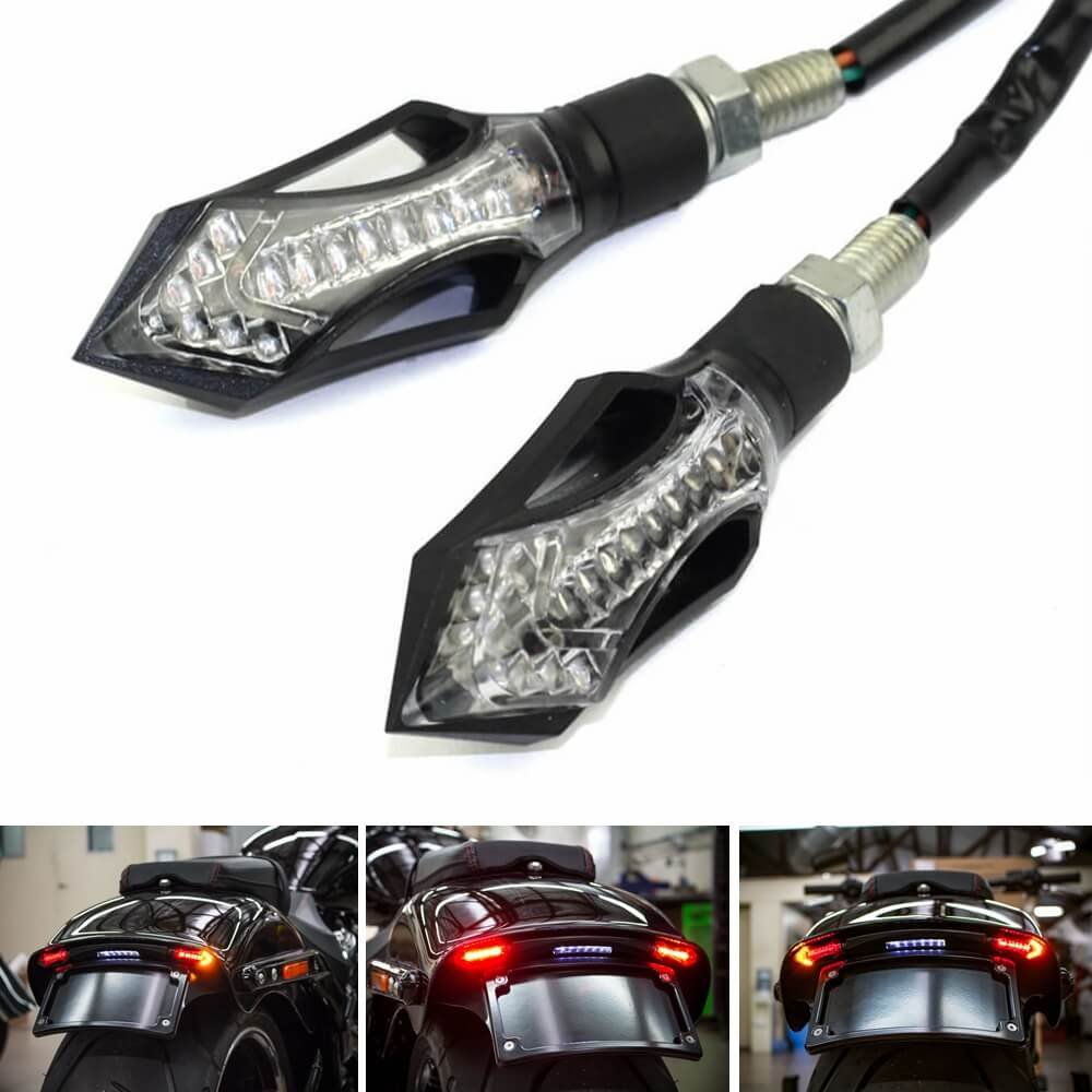 Motorcycle Universal Arrow 3 in 1 Rear Front LED Turn Signal Light Indicators w/Brake Tail Light w/Daytime Running Light DRL Blinker - pazoma