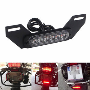 Motorcycle 6 LED Licence Plate Auxiliary Running Taillight Burst Flash Brake Stop Red Lights For BMW Honda Suzuki Kawasaki Ducati Yamaha - pazoma