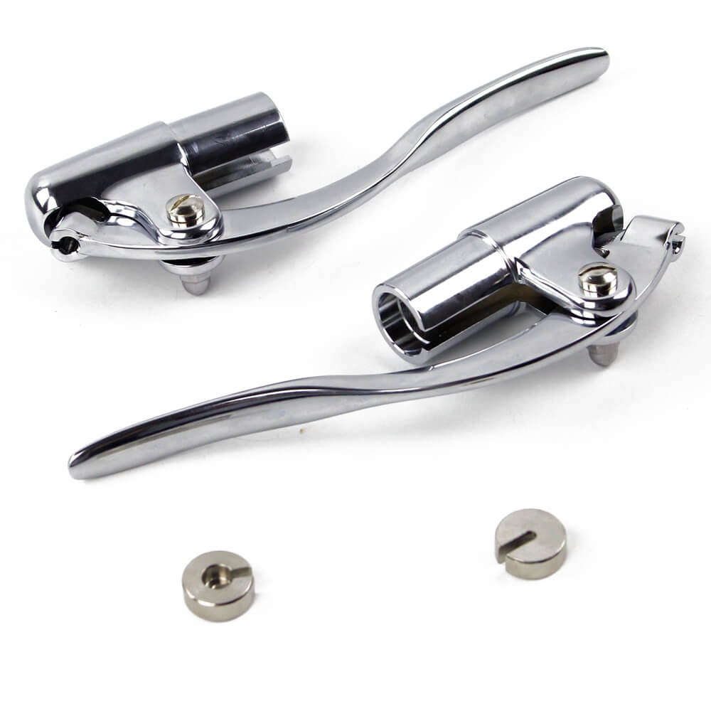 "Custom Chopper Bobber Cafe Racer Old School Bar End Control Lever Inverted Brake Clutch Levers for 1"" handlebars Chrome Made Out of Forged Brass - pazoma"