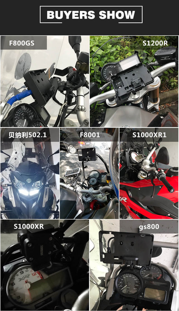 BMW R1200GS Mobile Phone Navigation Bracket ADV F700 800GS CRF1000L Africa Twin For Honda Motorcycle USB Charging 12MM Mount - pazoma