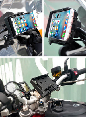 BMW R1200GS LC & Adventure S1000XR R1200RS Africa Twin CRF1000L ADV 800GS Motorcycle USB Charger Mobile Phone Holder Stand Bracket - pazoma