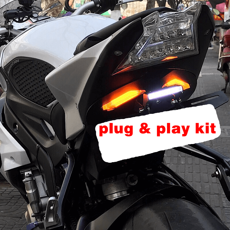 LED Tail Tidy Fender Eliminator Kit Integrated Turn Signals License Plate Light Bracket For BMW S1000RR S1000R 09-14 15-19 - pazoma