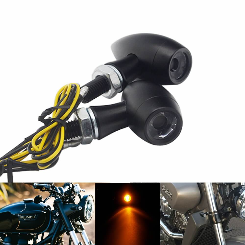 Motorcycle Amber Mini Bullet Turn Signals 2pcs LED Lamp Black Lights Blinker Indicator Light For Harley Cruiser Chopper Custom Bike Bobber - pazoma
