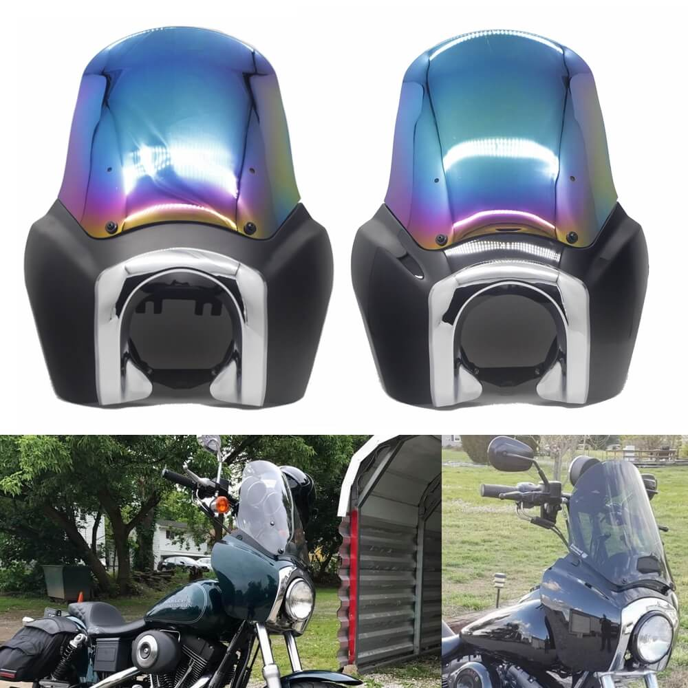 Tall Fairing w/Chrome Trim Bezel Iridium Windshield Headlight Relocation Block Club Style for Harley Dyna Super Glide T-Sport FXDXT FXR - pazoma