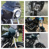 Harley Dyna FXDXT FXDWG FXR Dyna Street Bob T-Sport Headlight Fairing Bezels Trim Cover Chrome - pazoma