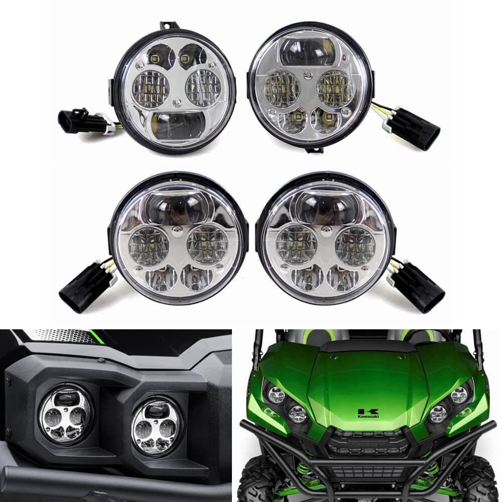 Kawasaki Teryx Teryx4 Mule 4010 4000 Trans4x4 Diesel Brute Force 700 750 800 820 950 LED Front Headlights Assembly Left Right Headlamp TX750-075 - pazoma