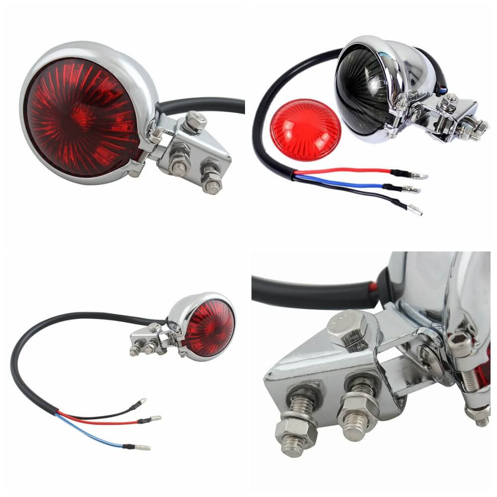 Chrome Bates Style LED Motorcycle Rear Stop brake Tail light Taillight Retro Vintage Custom Project Custom Streetfighter Bobber Cafe New - pazoma