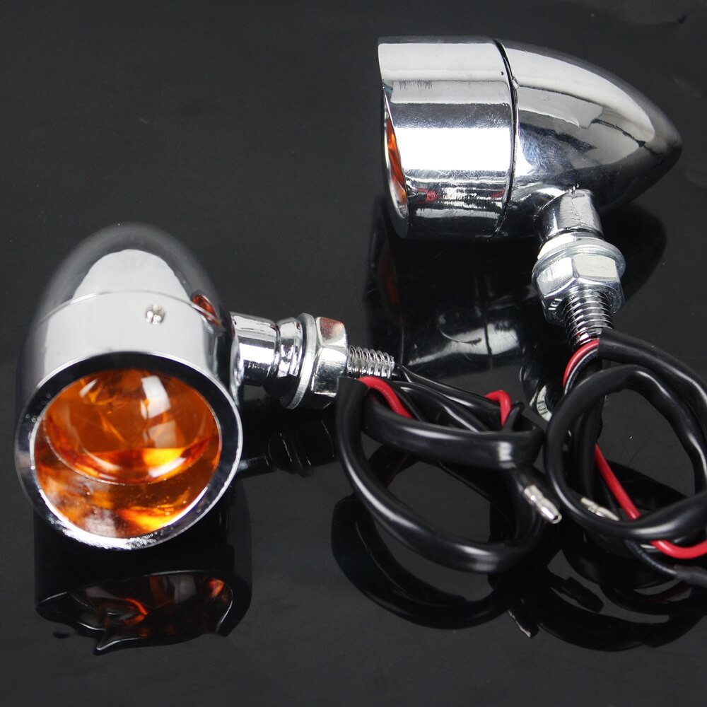 Motorcycle Chrome Retro Bullet Amber Turn Signals Lights Indicator Blinkers W/ Visor Cruiser Chopper CAFE RACER BIG DOG Rat Bike Custom - pazoma