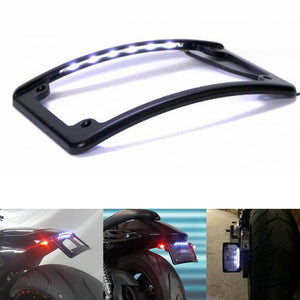 "Motorcycle 4x7"" Curved Radius License Plate Frame Holder Rear Fender with LED Light For Harley Softail Touring Dyna sport glide FLSL/FXBB - pazoma"