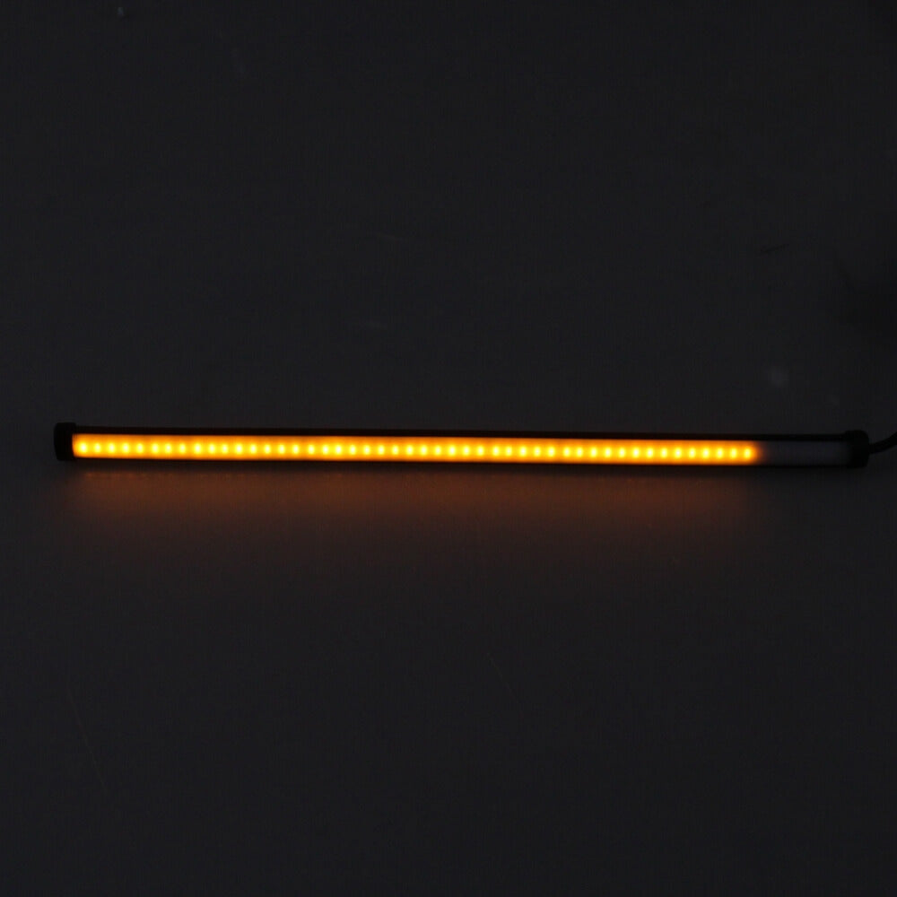 Motorcycle Sequential Switchback Flowing LED Strips Daytime Running lights Turn Signal Light Strip White With Amber Color - pazoma