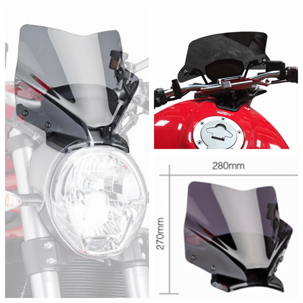 Ducati Monster 797/821/1200 R/S Naked New Generation Sport Smoked Windshield WindScreen Front Airflow Deflectors 7013H - pazoma