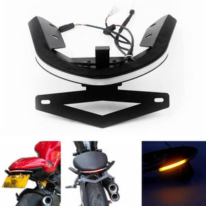 LED Tail Tidy Stealth Fender Eliminator Kit Integrated Taillight Brake Turn Signals License Plate Light Bracket For Ducati Monster 821 1200/S '14-'17 - pazoma