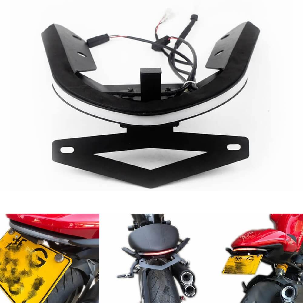 Ducati Monster 821 1200/S Sequential Switchback Flowing LED Tail Tidy Fender Eliminator Kit Taillight Brake Turn Signals License Plate Light Bracket - pazoma