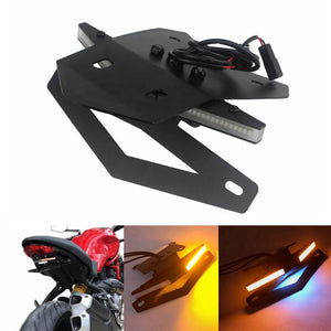 LED Tail Tidy Fender Eliminator Kit Integrated Turn Signals License Plate Light Bracket For Ducati Monster 797 / Supersport 939 / S 2017-2019 - pazoma