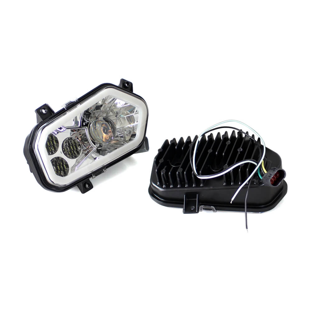 High / Low Beam LED Headlight Head Lamp with halo ring for POLARIS RZR 400 500 800 500 900 XP 4 S 2012-2013 Sportsman 550 850 - pazoma
