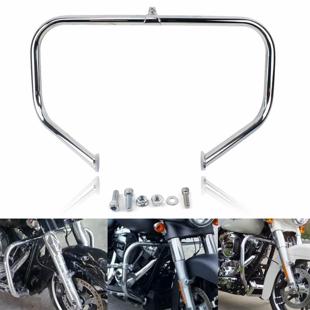 Harley Touring '09-'20 Black Chrome Engine Guard Crash Bar Kit HD CVO Road King Street Glide FLHT FLHX FLHR FLTR 49050-09A - pazoma