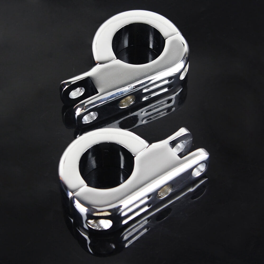 "Pazoma 1 1/4"" 1.25"" Billet Engine Guard Footpeg Mounting Kit Highway Foot Peg Clamps For Harley Touring Road King Engine Bars 50957-02B Chrome - pazoma"