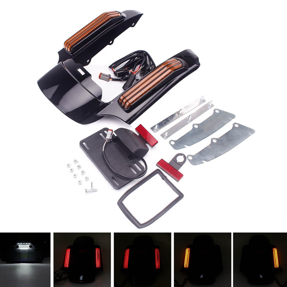Rear Fender Extension Fascia W/LED Tail Lights For Harley Touring Road King Electra Glide Ultra Classic Limited Low Street Special 2014-2020 - pazoma