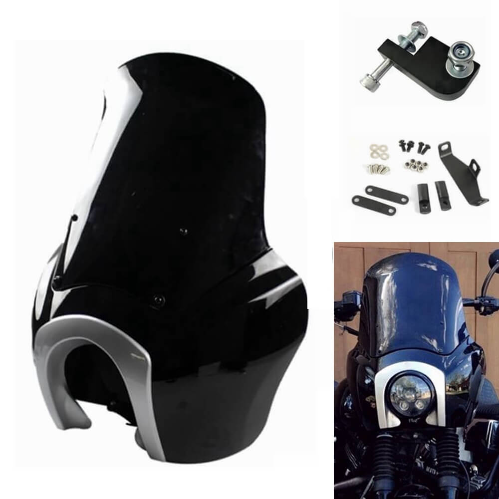 Harley-Davidson Club Style Dyna Street Bob Dyna FXR T-Sport Front Headlight Fairing Outer Two-color Black with Silver W/Headlight Relocation Block - pazoma